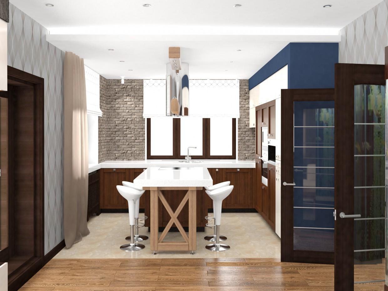 Кухня гостиная с камином в 3d max vray 3.0 изображение