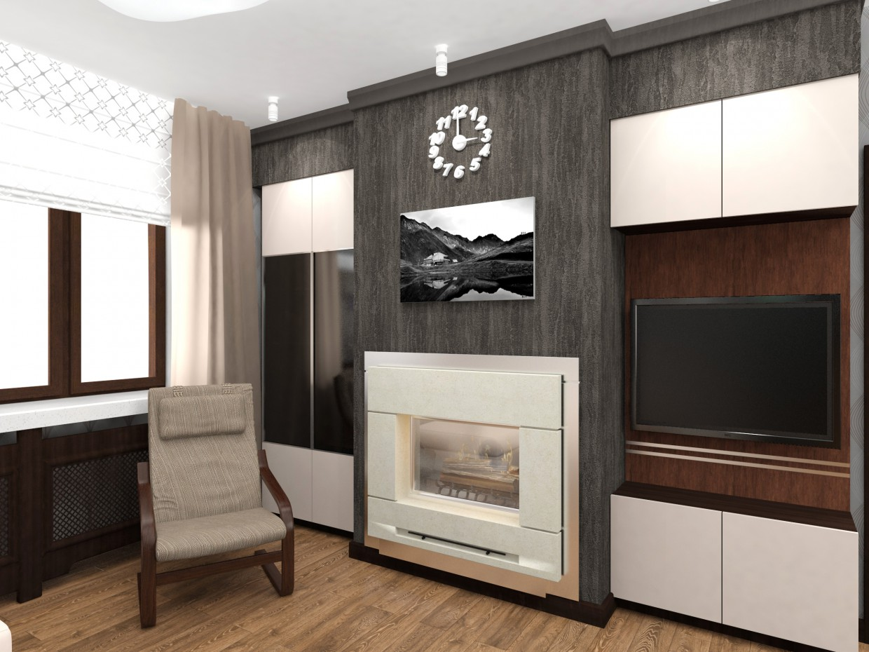 Kitchen living room with fireplace in 3d max vray 3.0 image