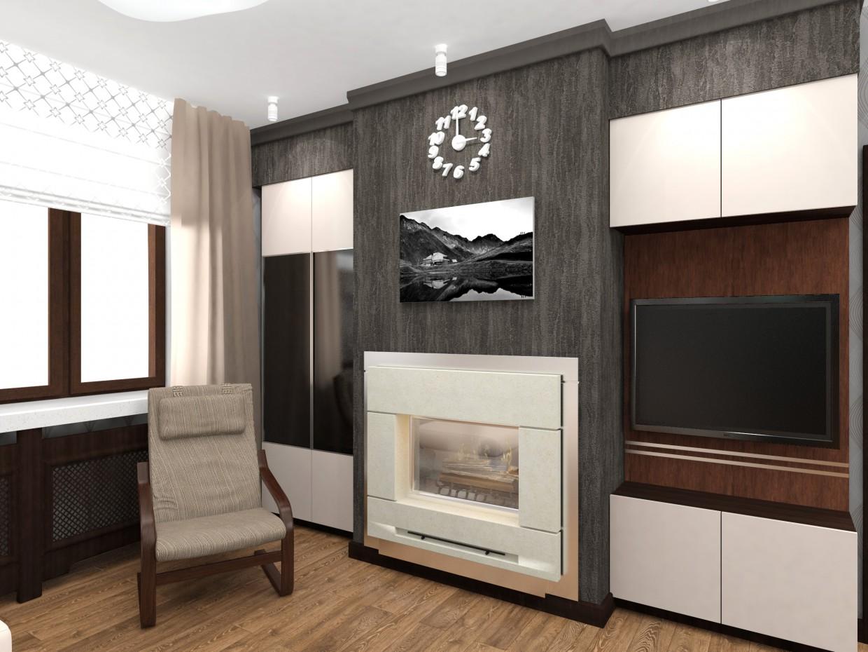 imagen de Cocina salón con chimenea en 3d max vray 3.0