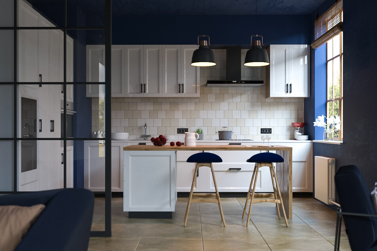 KITCHEN BLUE in 3d max corona render image
