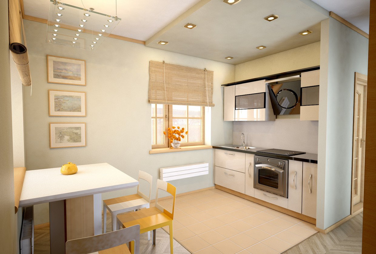 Kitchen-dining room. Design, visualization in 3d max vray image