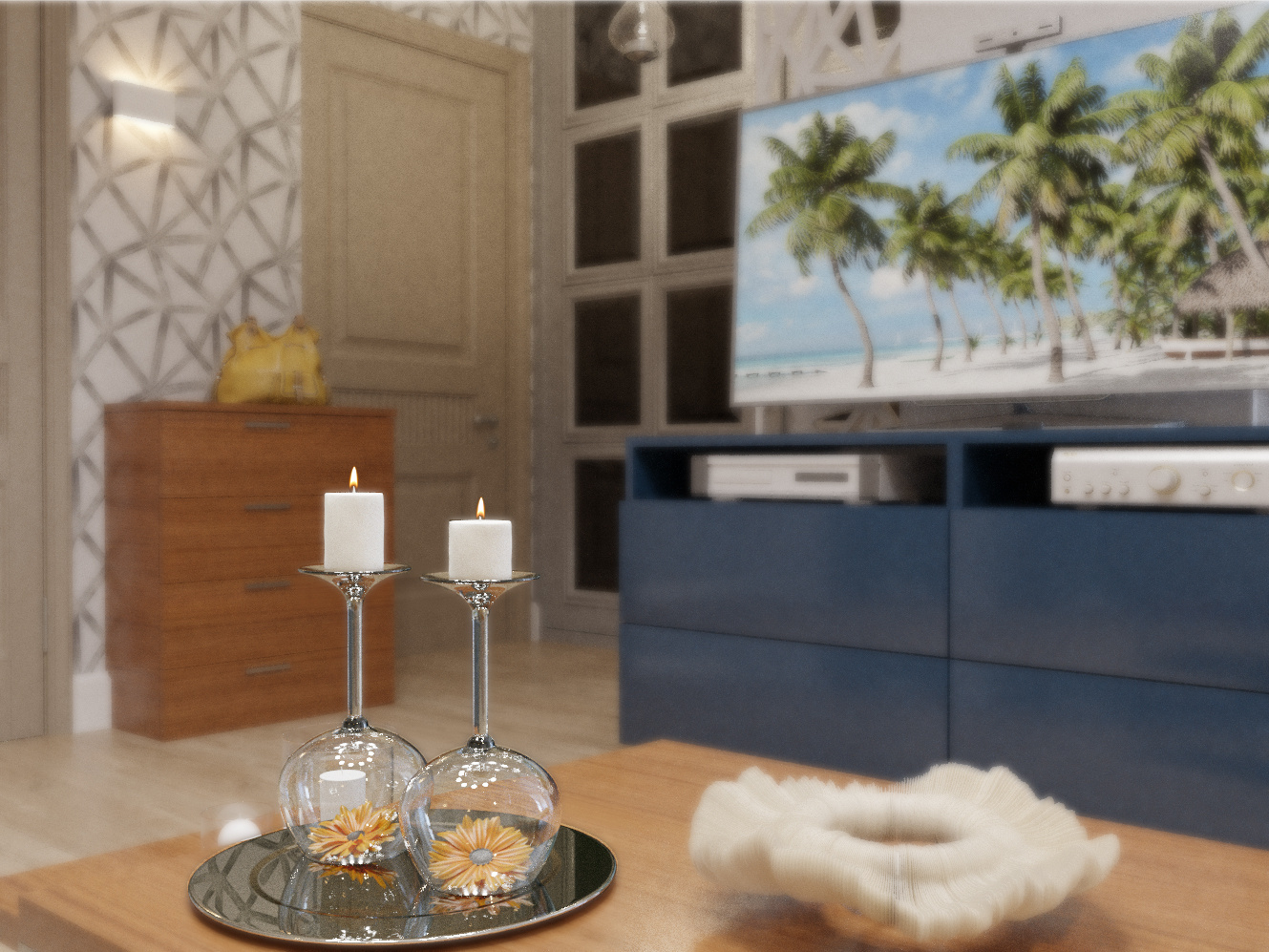 Living room with kitchenette in 3d max corona render image