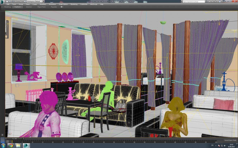 Кафе - Кальянная - Ракурс 1 в 3d max vray зображення