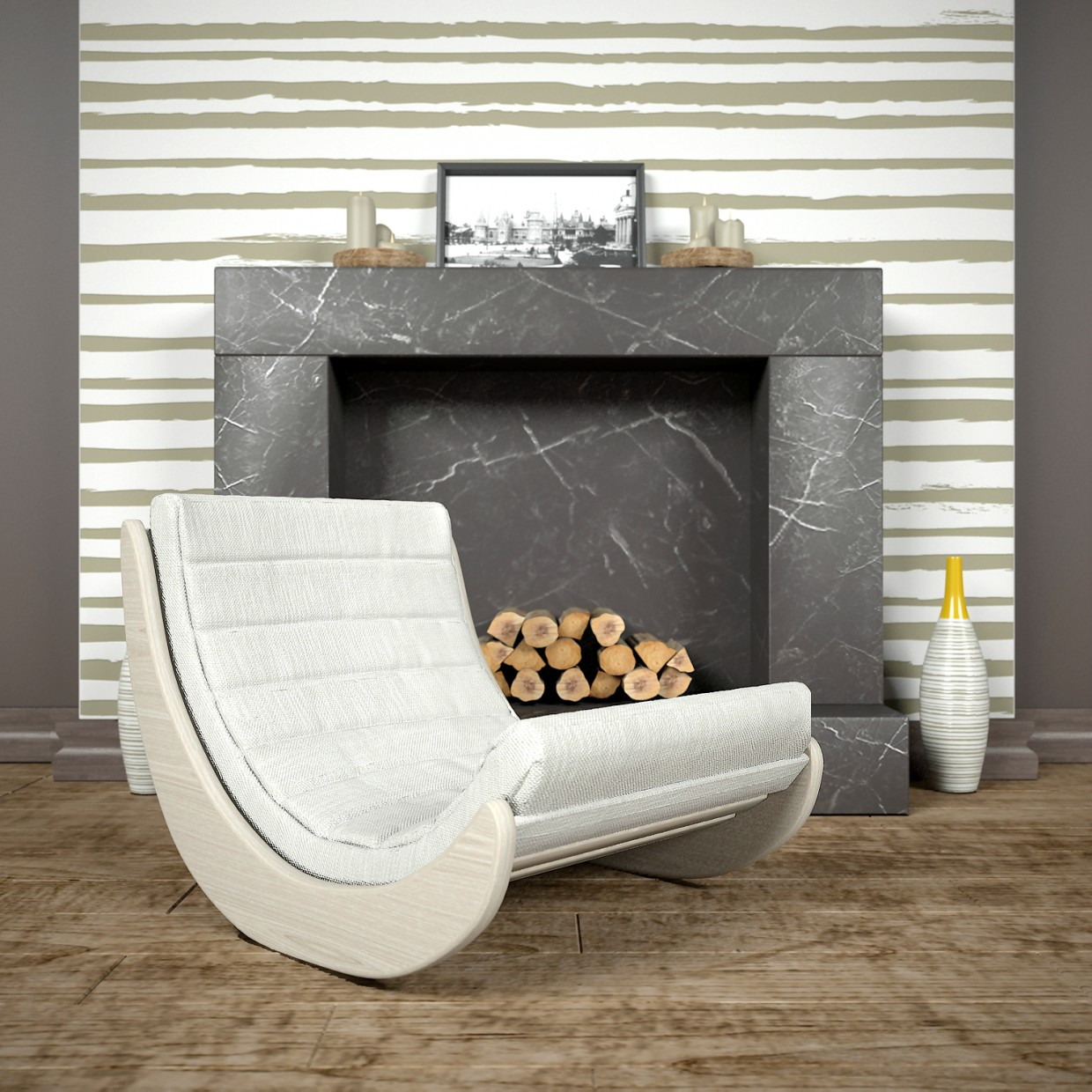 Armchair near the fireplace in 3d max vray 2.5 image