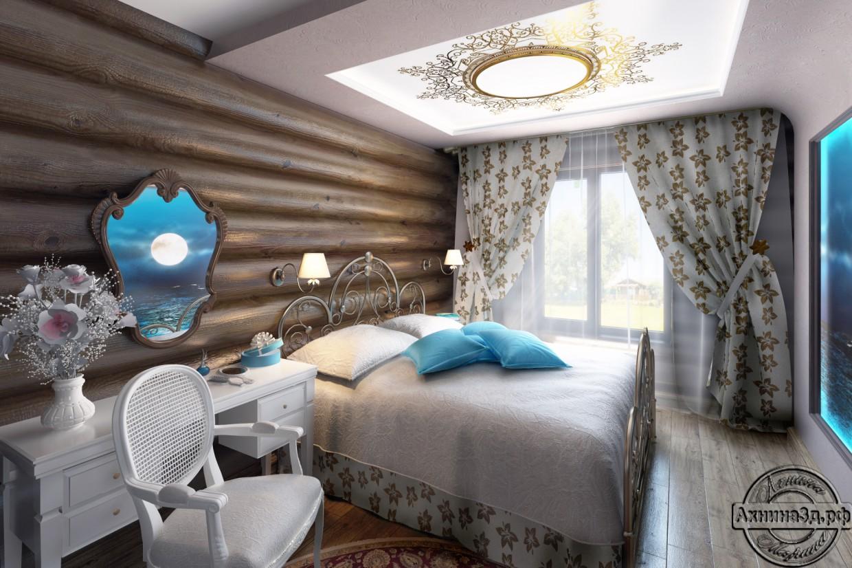 visualización 3D del proyecto en el Residencial Casa de troncos 3d max render vray Ахнина Марина