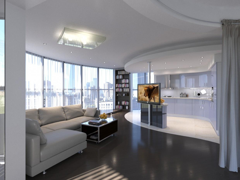 Круглая квартира в Санкт-Петербурге в 3d max corona render изображение