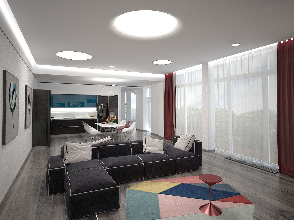 Вітальня-їдальня-кухня в 3d max vray зображення