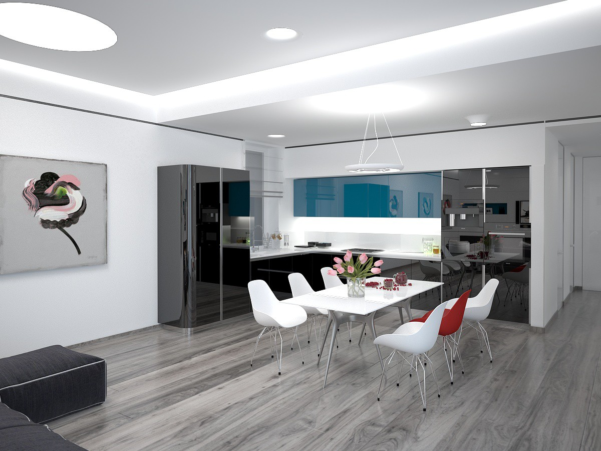 Living room-dining room-kitchen in 3d max vray image