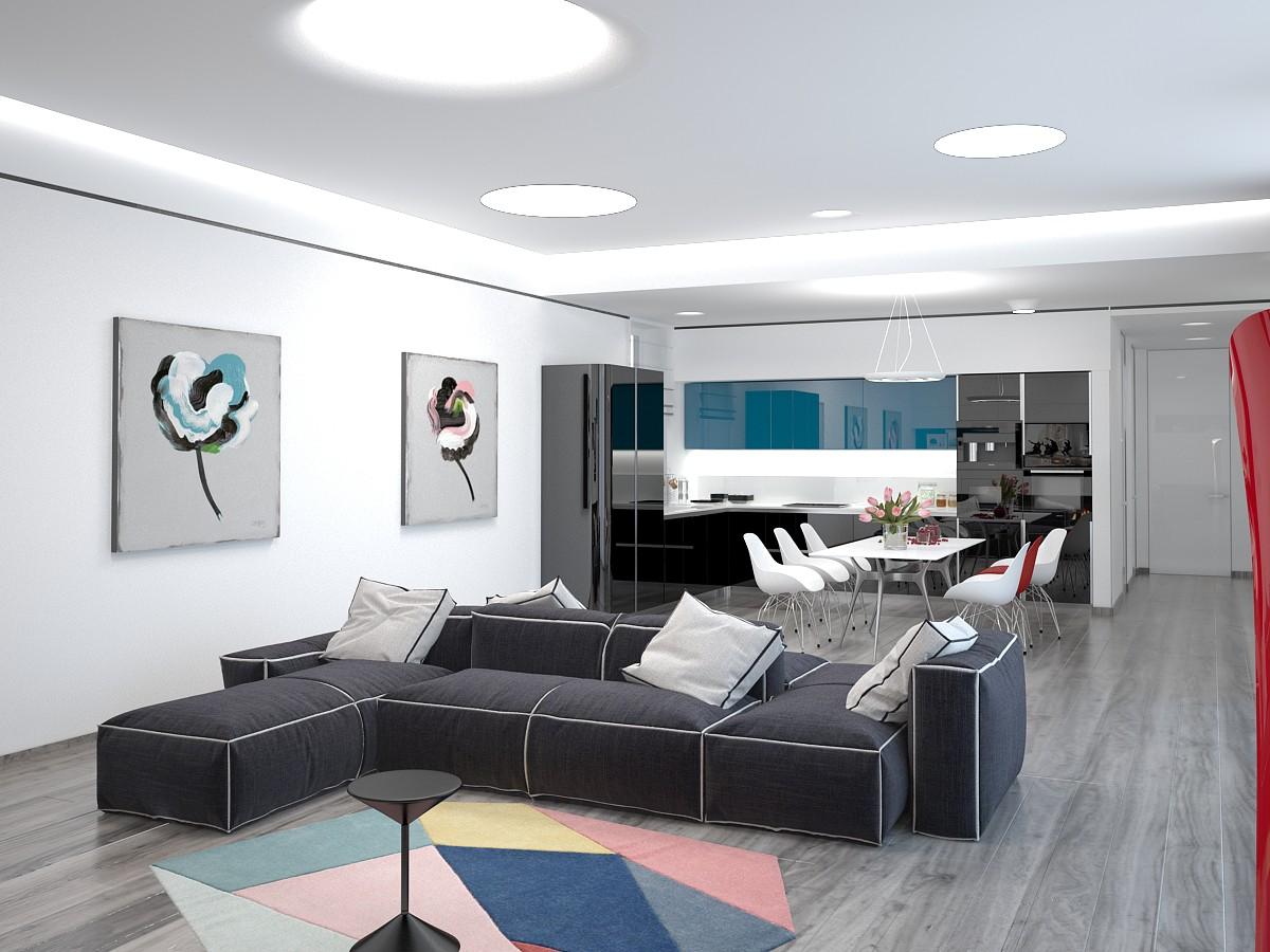 imagen de Sala de estar-comedor-cocina en 3d max vray