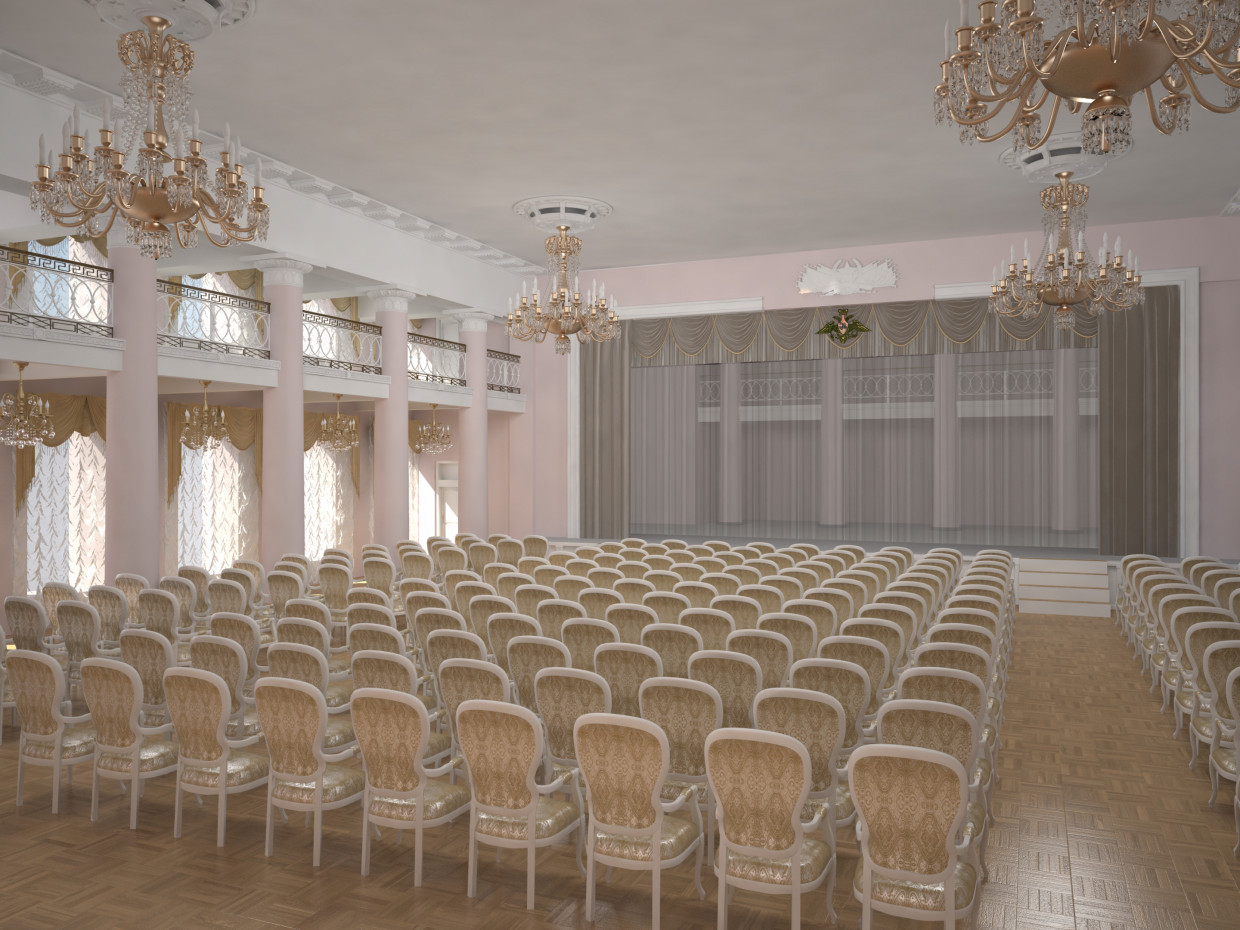 The Red Banner Hall in 3d max vray 3.0 image