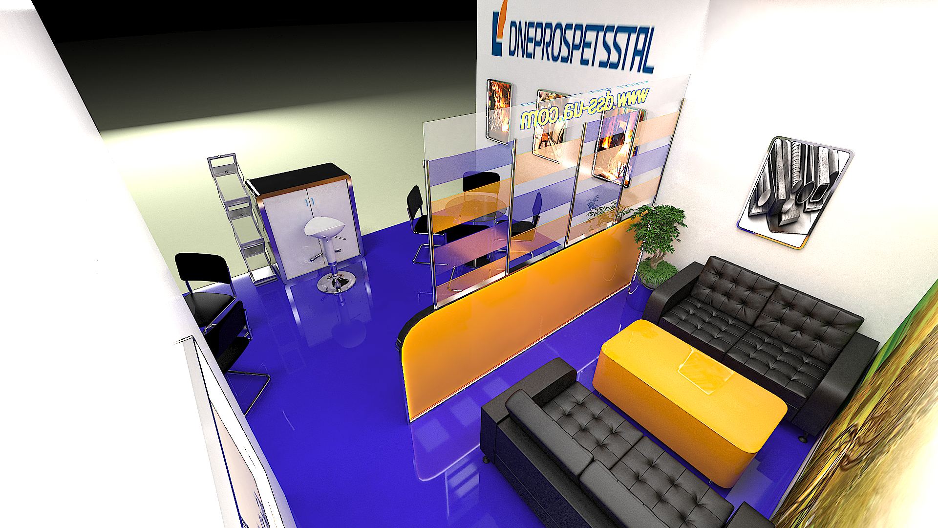 exhibition stand DNIPROSPETSSTAL in 3d max vray 3.0 image