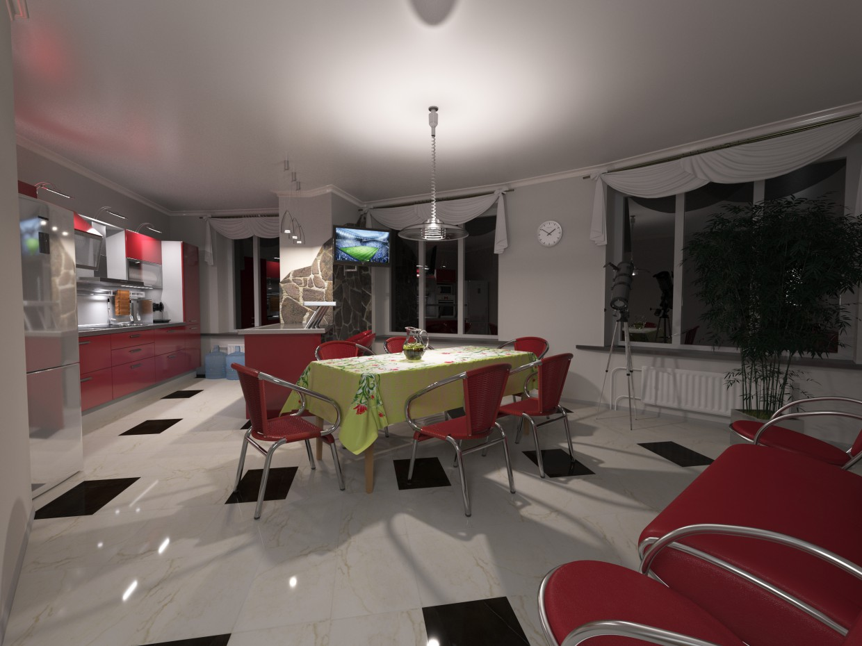 Kitchen  in  3d max   corona render  image