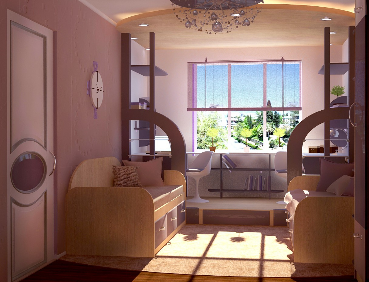 Double room in a hostel in 3d max vray image