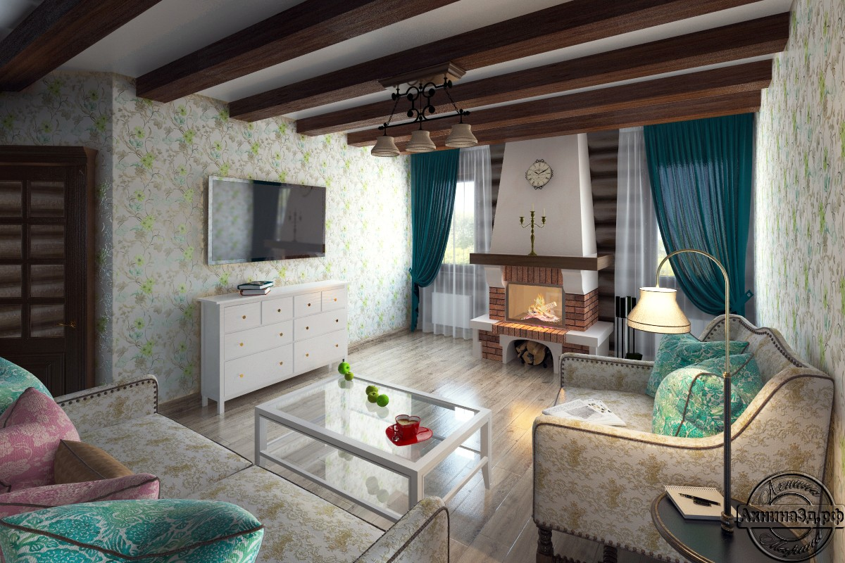 3d visualization of the project in the Rural house from logs 3d max, render vray of Ахнина Марина