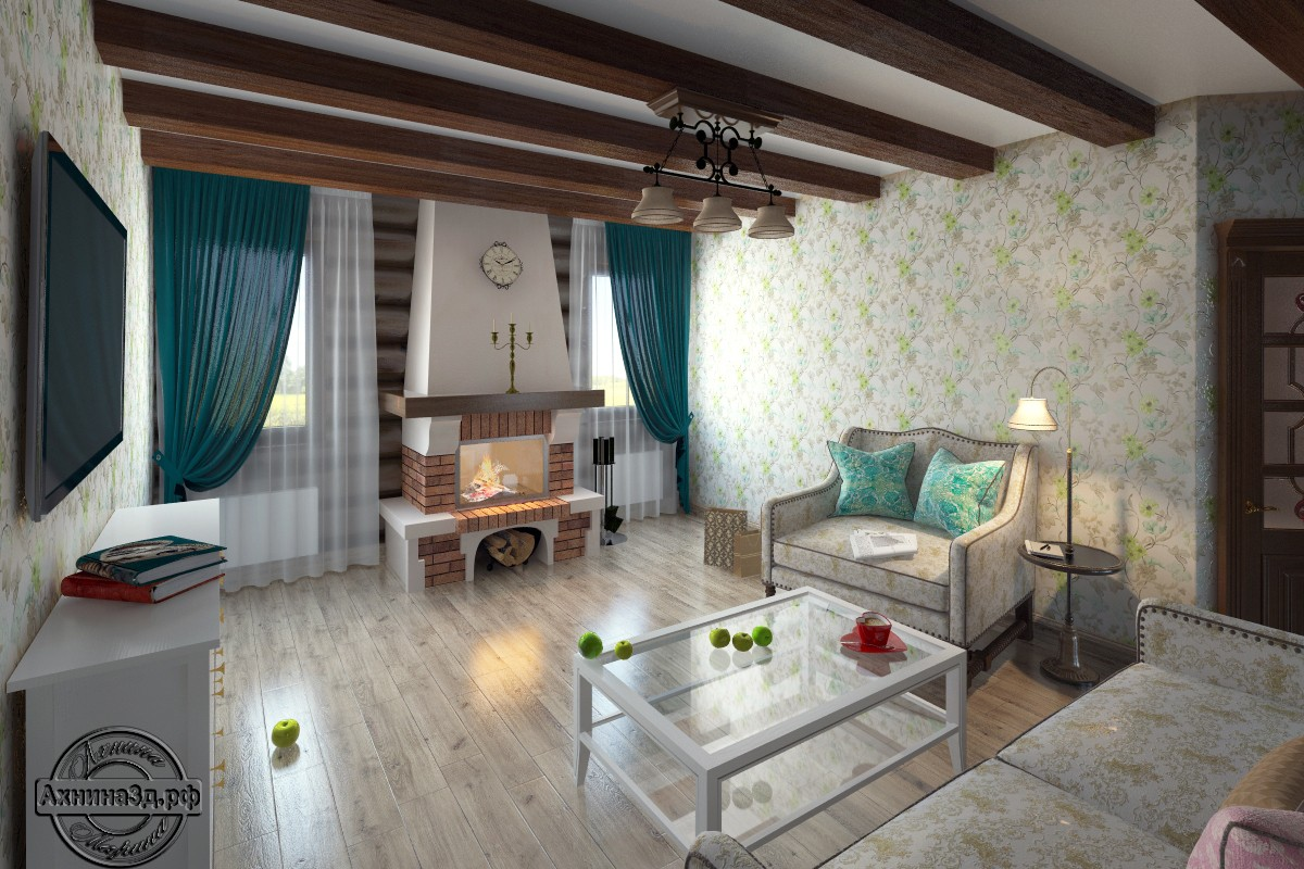 Заміський будиночок з колоди в 3d max vray зображення