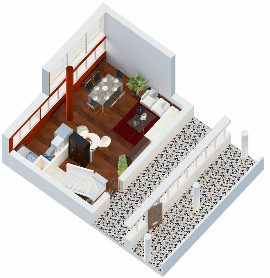 Дом Наркомфина. Интерьер ячейки К в 3d max vray 2.0 изображение