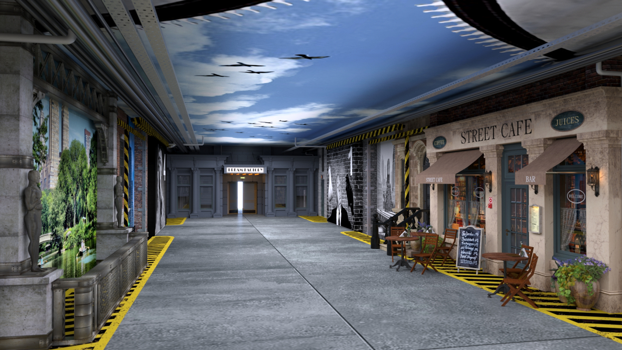 decorative design of the transport corridor of the film studio KinoPolis in St. Petersburg in 3d max corona render image
