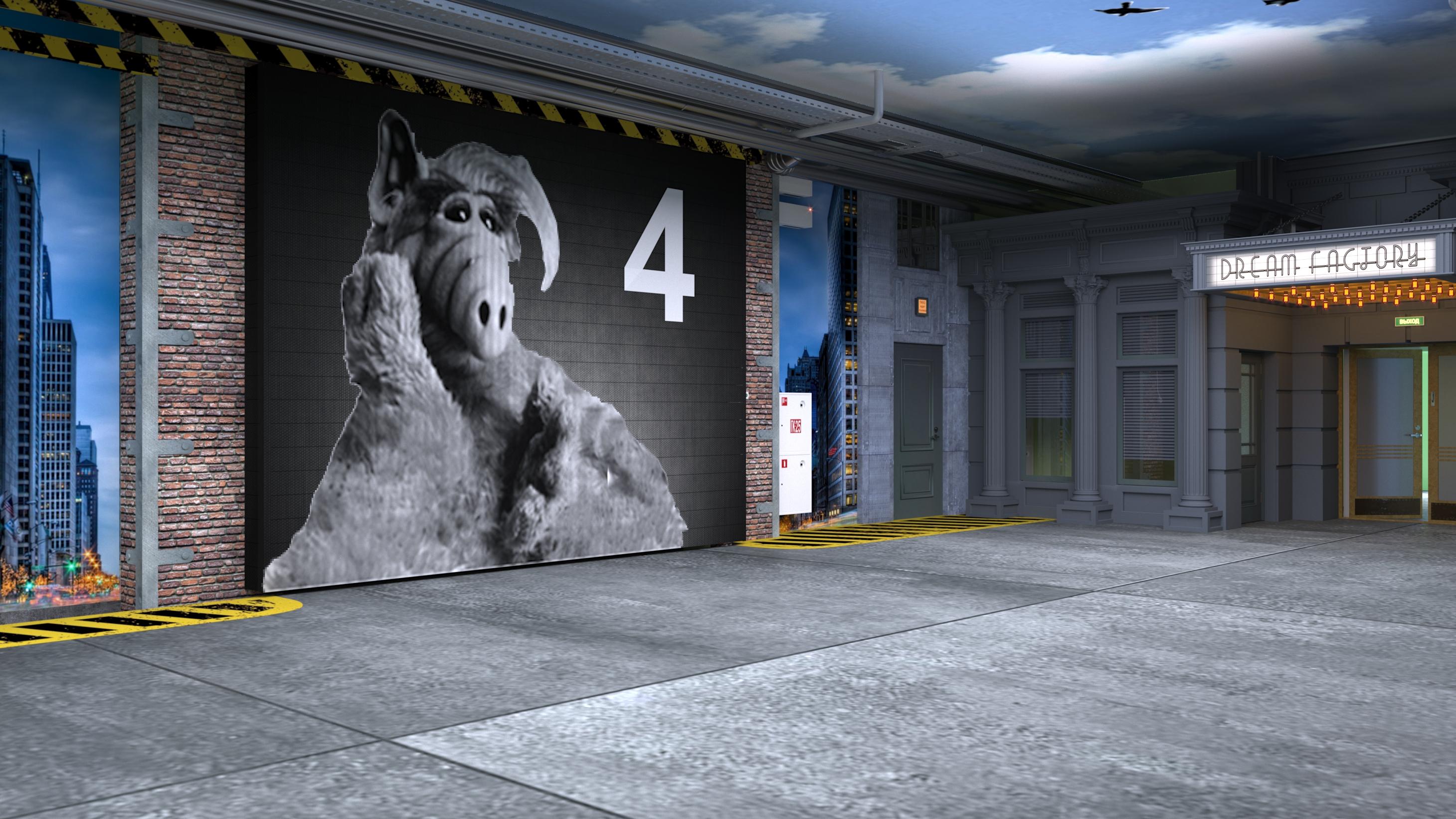 decorative design of the transport corridor of the film studio KinoPolis in St. Petersburg in 3d max corona render image