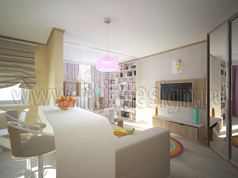 Studio Interior 35 sq.m. in 3d max vray image