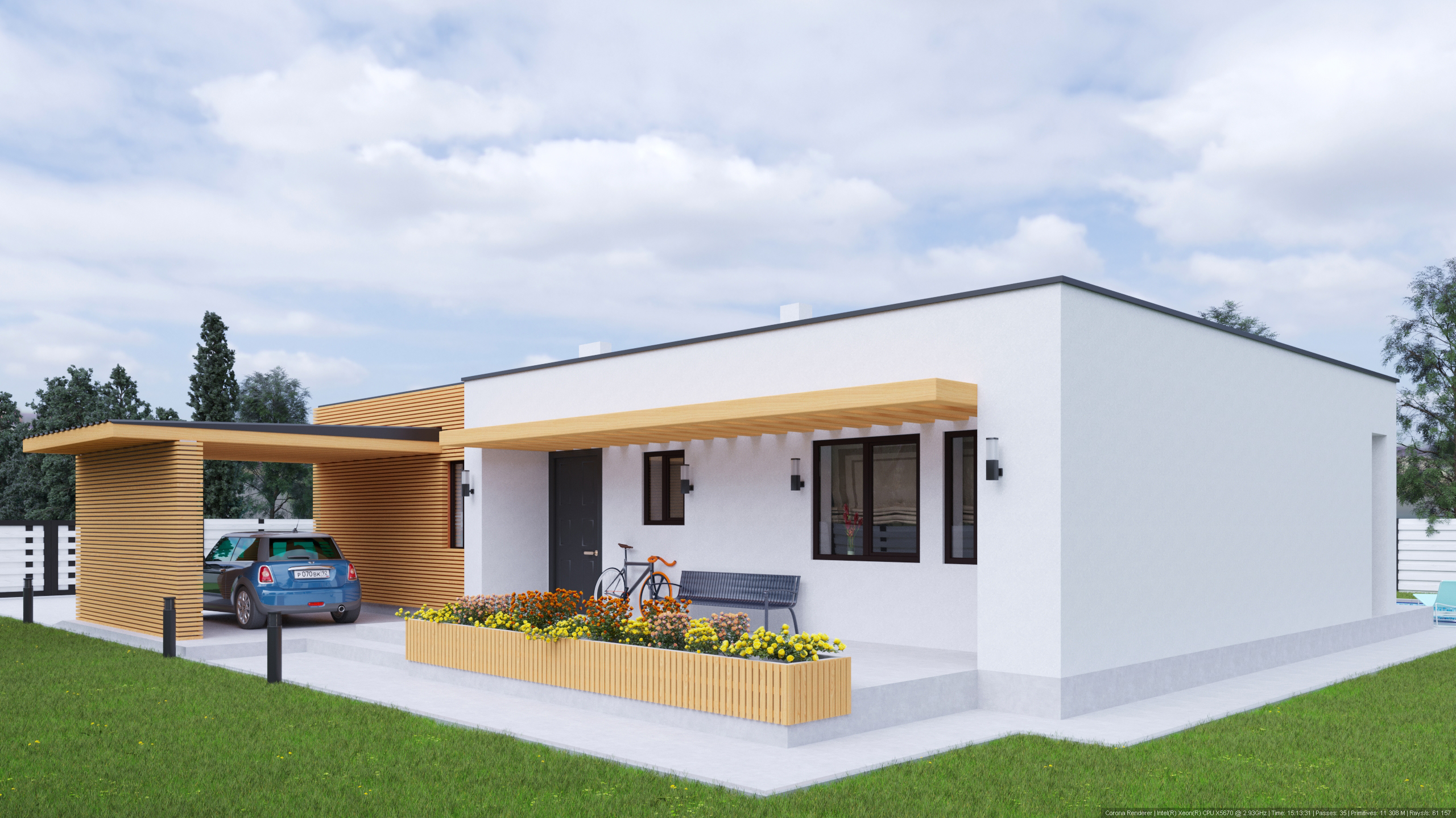 House on the plot V2 in 3d max corona render image