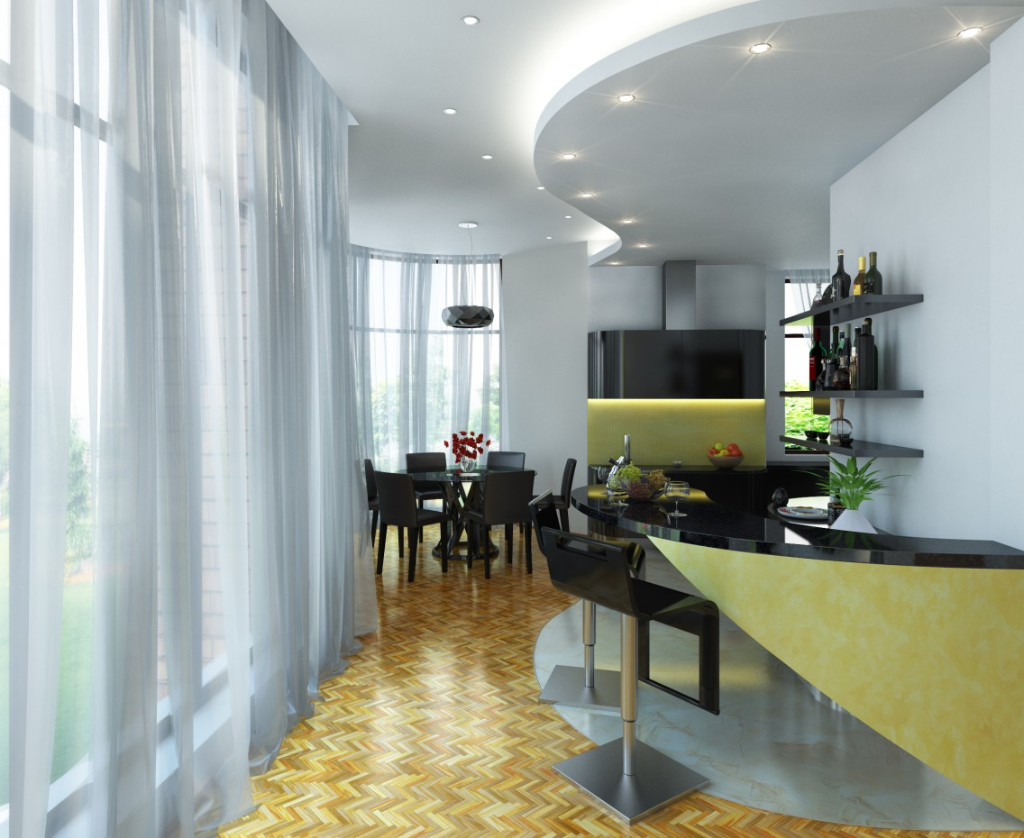 visualización 3D del proyecto en el Dos ángulos de una habitación en una casa privada 3d max render vray Tanita