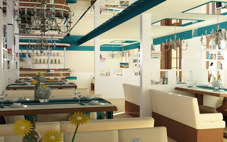 ресторан-кафе в 3d max vray зображення