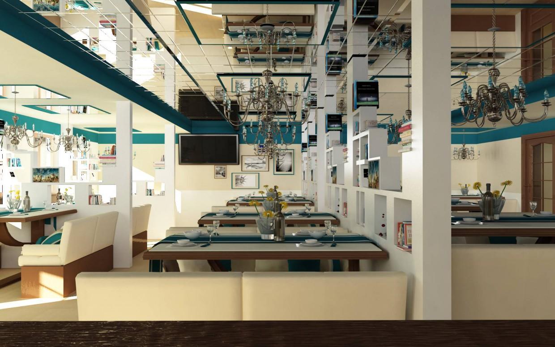 ресторан-кафе в 3d max vray изображение