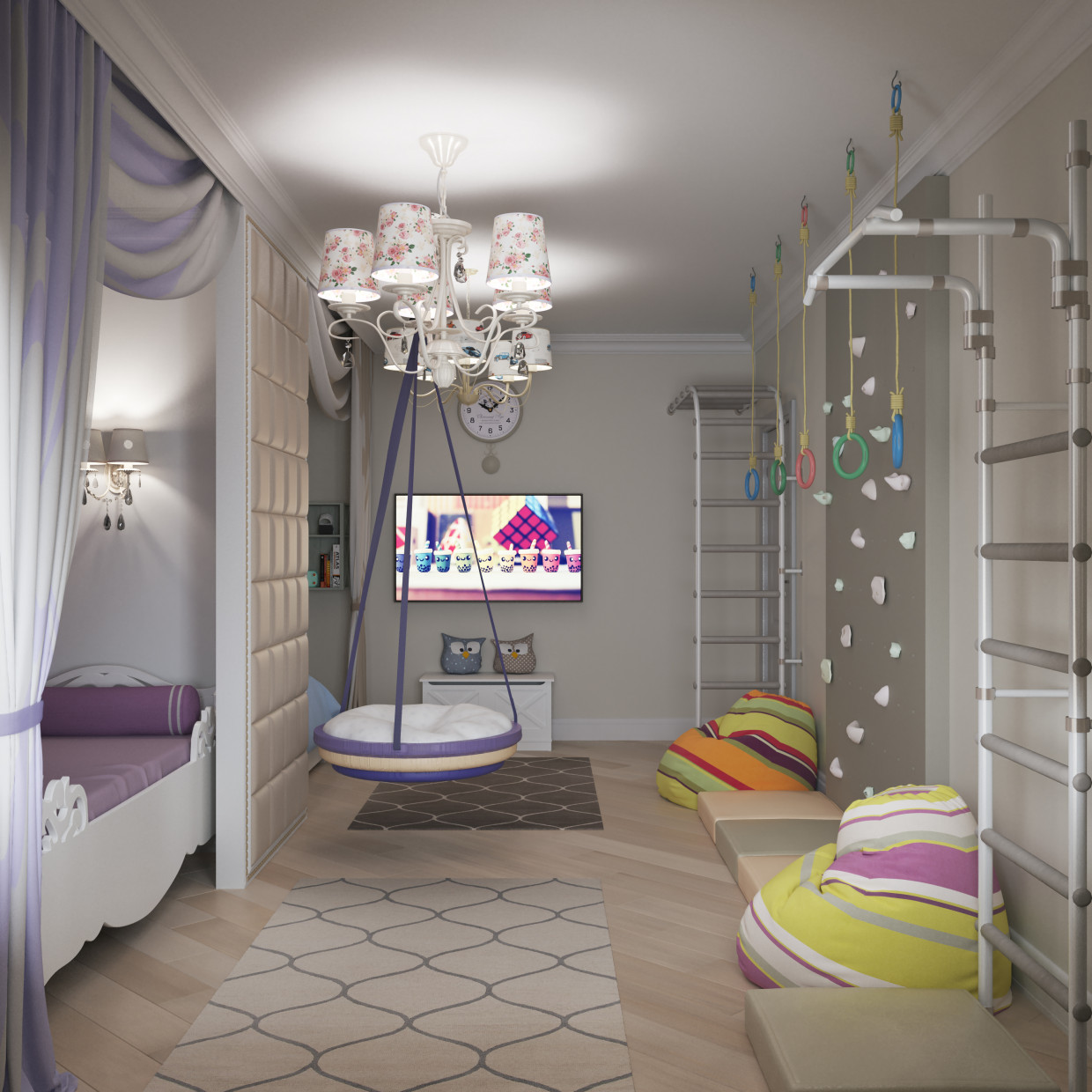 3d visualization of the project in the Children's room. 3d max, render corona render of Татьяна Кузнецова