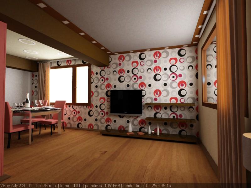 Кухня-зал в 3d max vray изображение