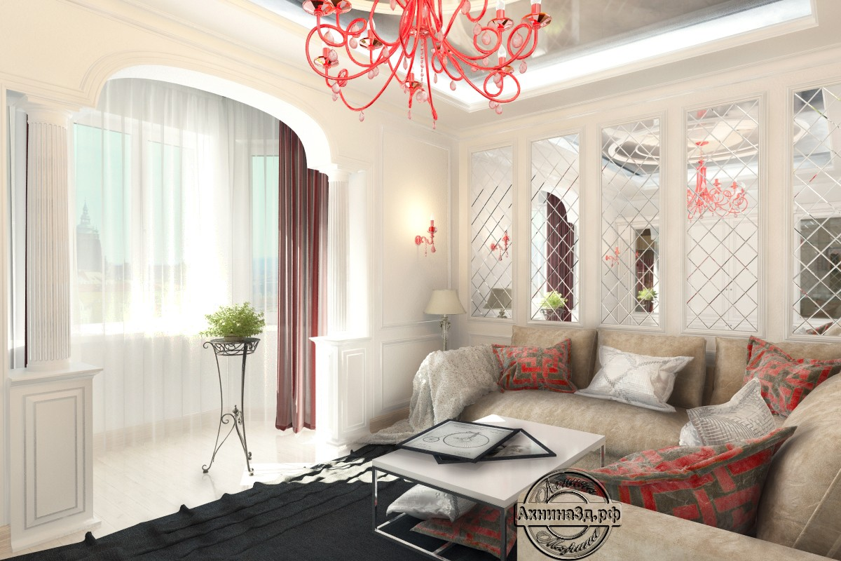 3d visualization of the project in the Living Room 3d max, render vray of Ахнина Марина
