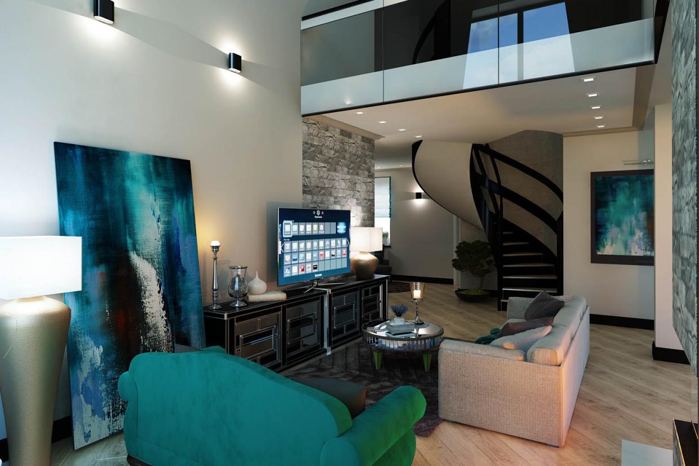 visualisation 3d l int rieur d une maison priv e dans le style clectique. Black Bedroom Furniture Sets. Home Design Ideas