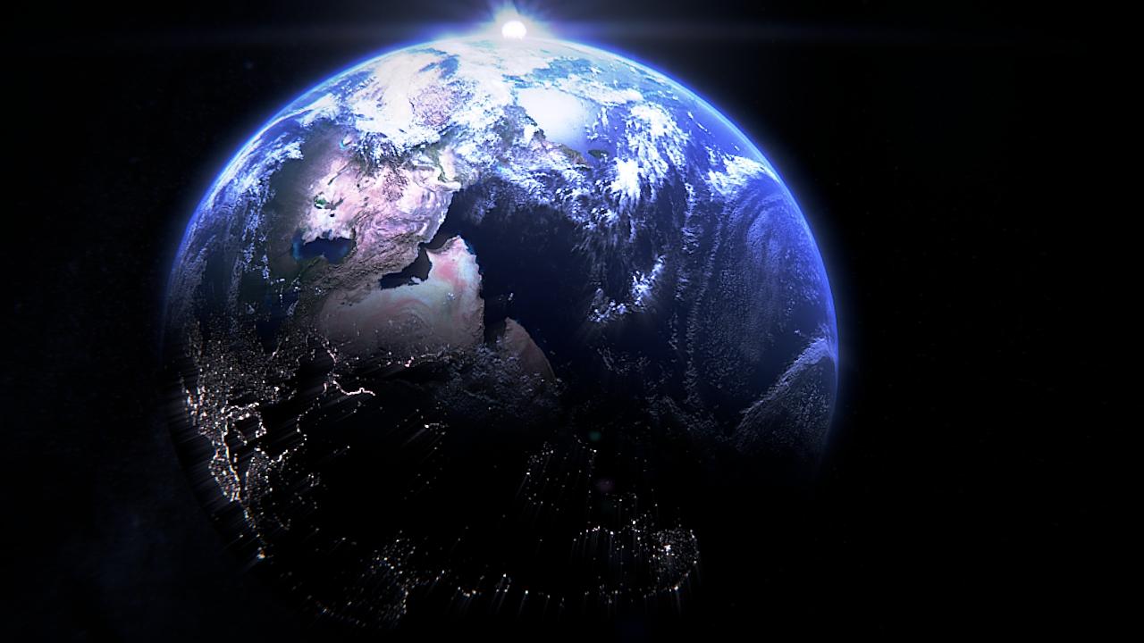 पृथ्वी Blender cycles render में प्रस्तुत छवि