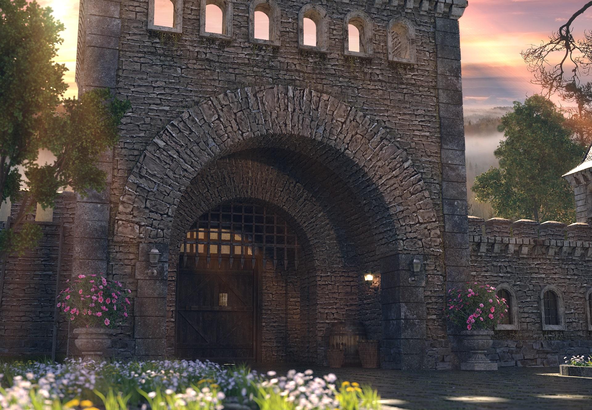 पश्चिमी यूरोप में कहीं 3d max corona render में प्रस्तुत छवि