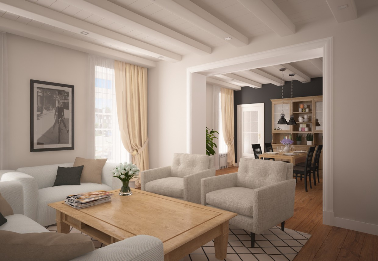 Kitchen + living room in 3d max vray image