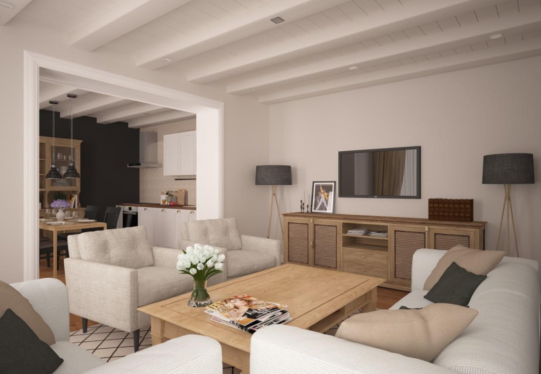 Кухня+гостиная в 3d max vray изображение