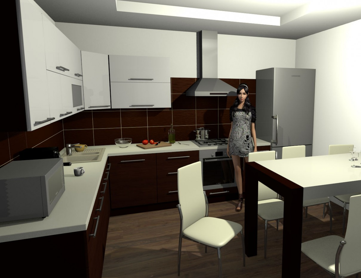 Kitchen in the country house in Blender Other image