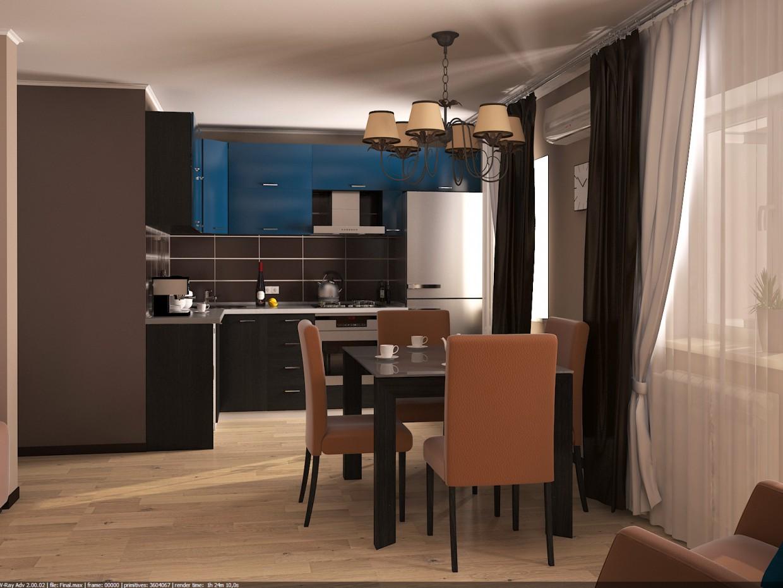 Вітальня + кухня в хрущовці в 3d max vray зображення