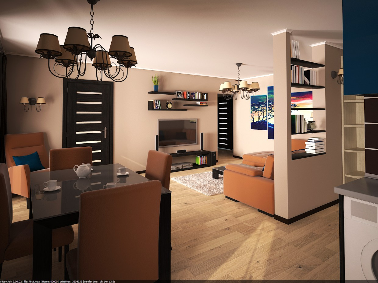 Living room + kitchen in 3d max vray image