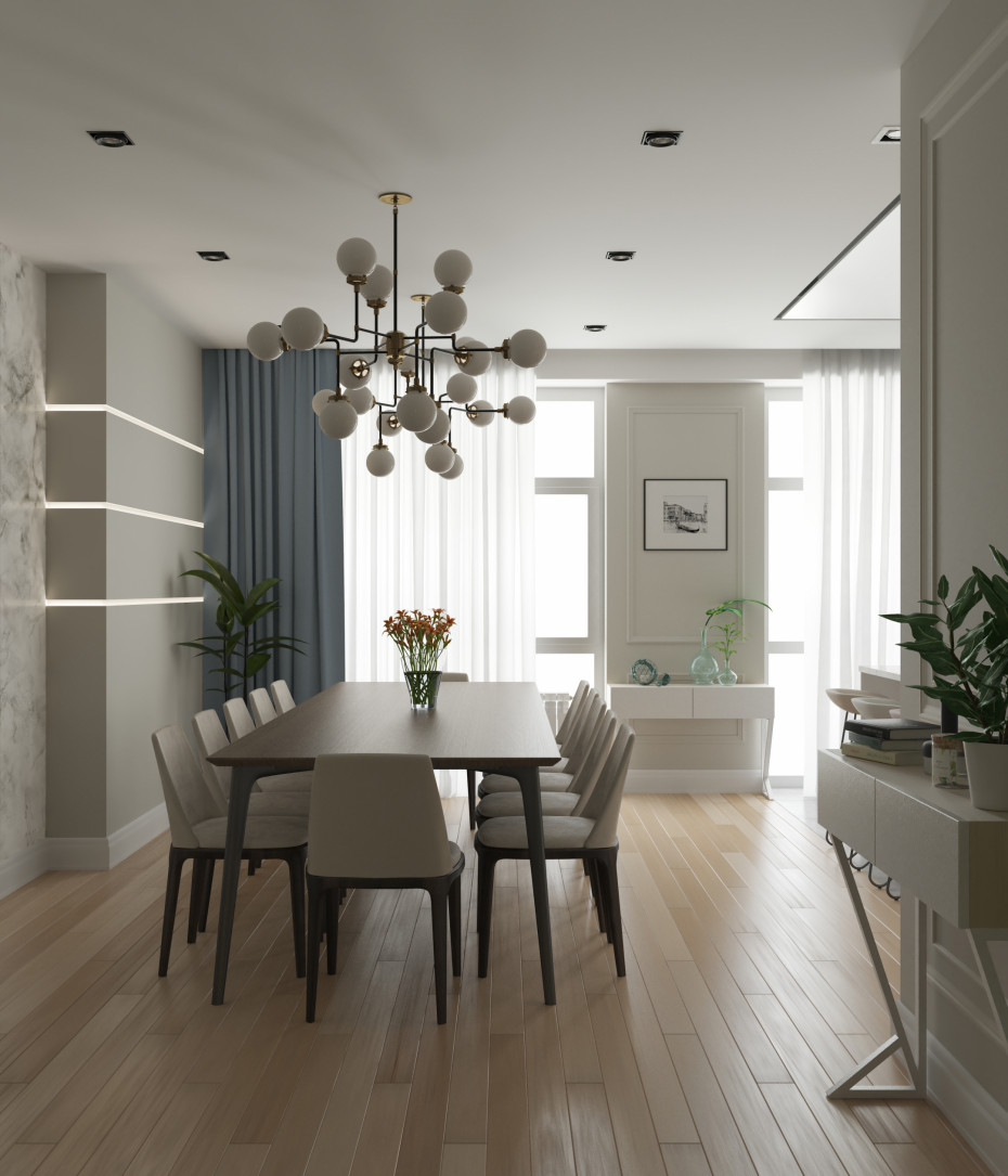 Kitchen-dining room. in 3d max corona render image