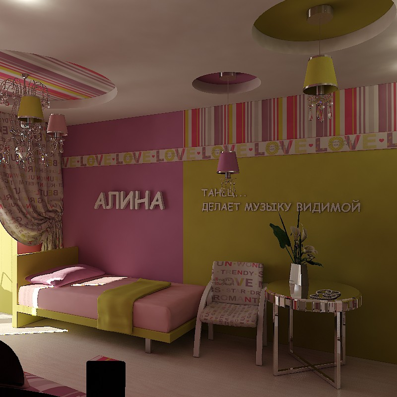 3d visualization of the project in the Alina's nursery 3d max, render vray of Ли Стюша