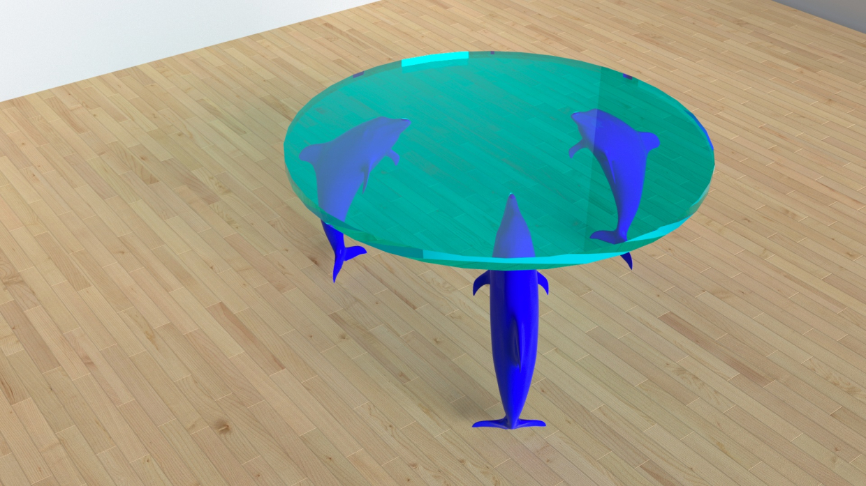 "Table ""Three Dolphins"" in 3d max corona render image"