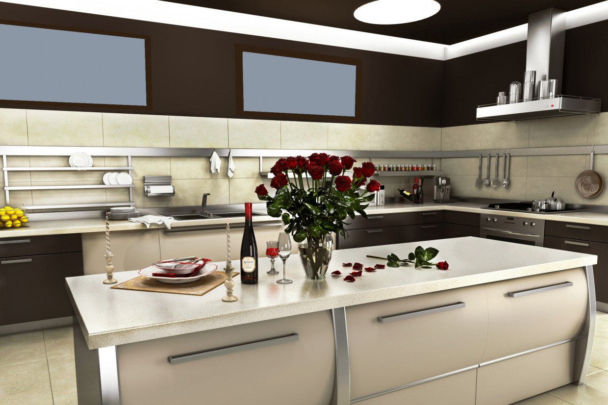3d visualization of the project in the Kitchen Aster 3d max, render vray of Jarcy13