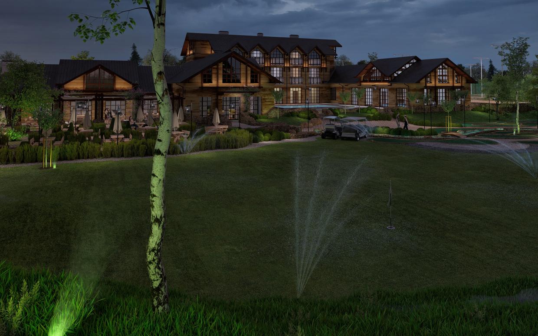 गोल्फ क्लब 3d max corona render में प्रस्तुत छवि
