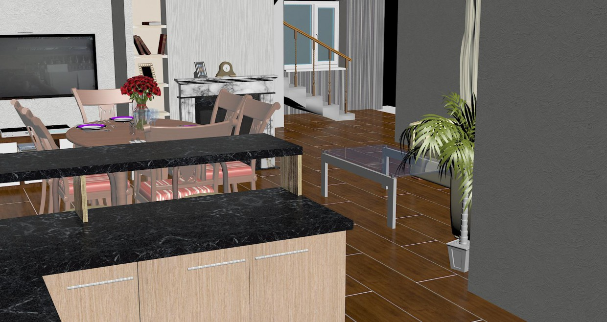 Private country house 1 floor in 3d max vray image