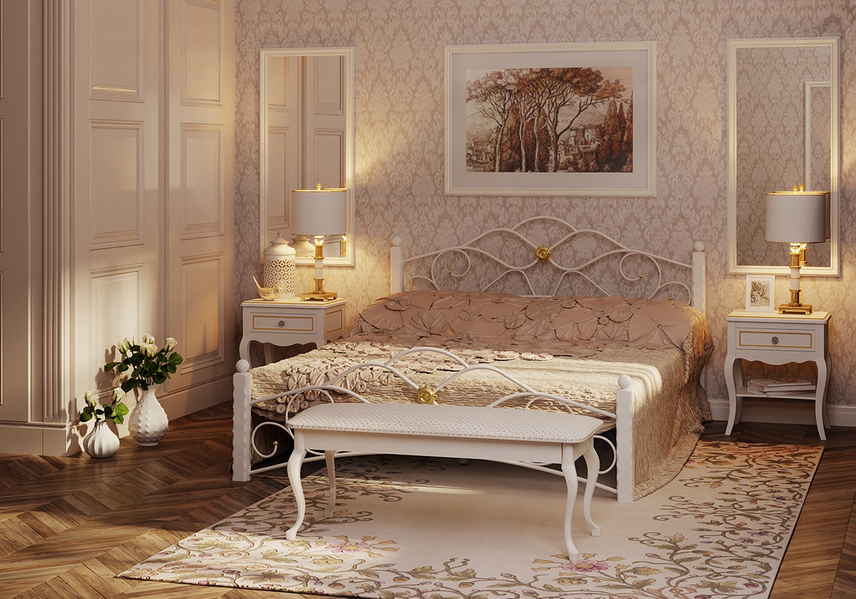 Bedroom, forged beds in 3d max corona render image