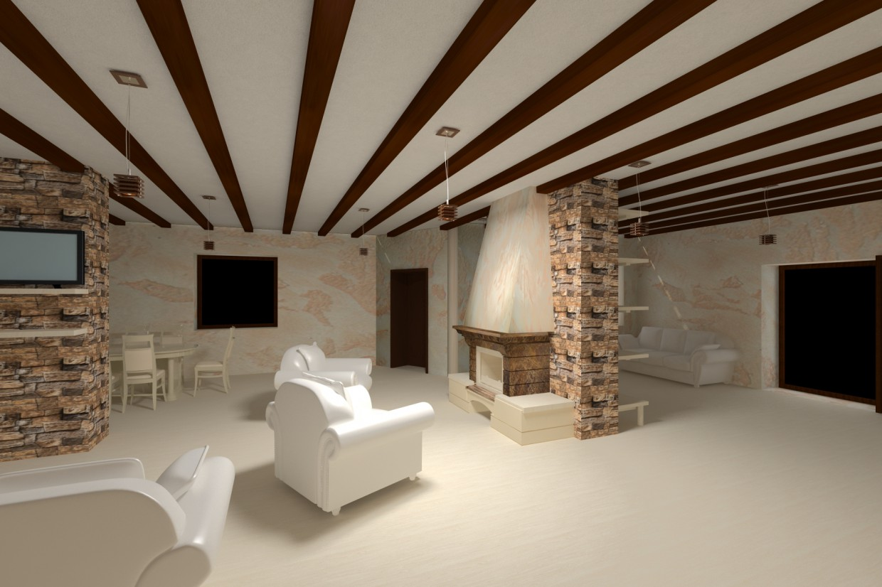 Living room with a fireplace in 3d max vray image