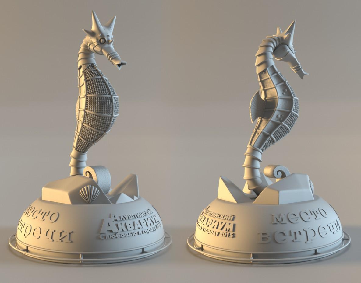 visualización 3D del proyecto en el Caballito de mar Maya render Other Kostya