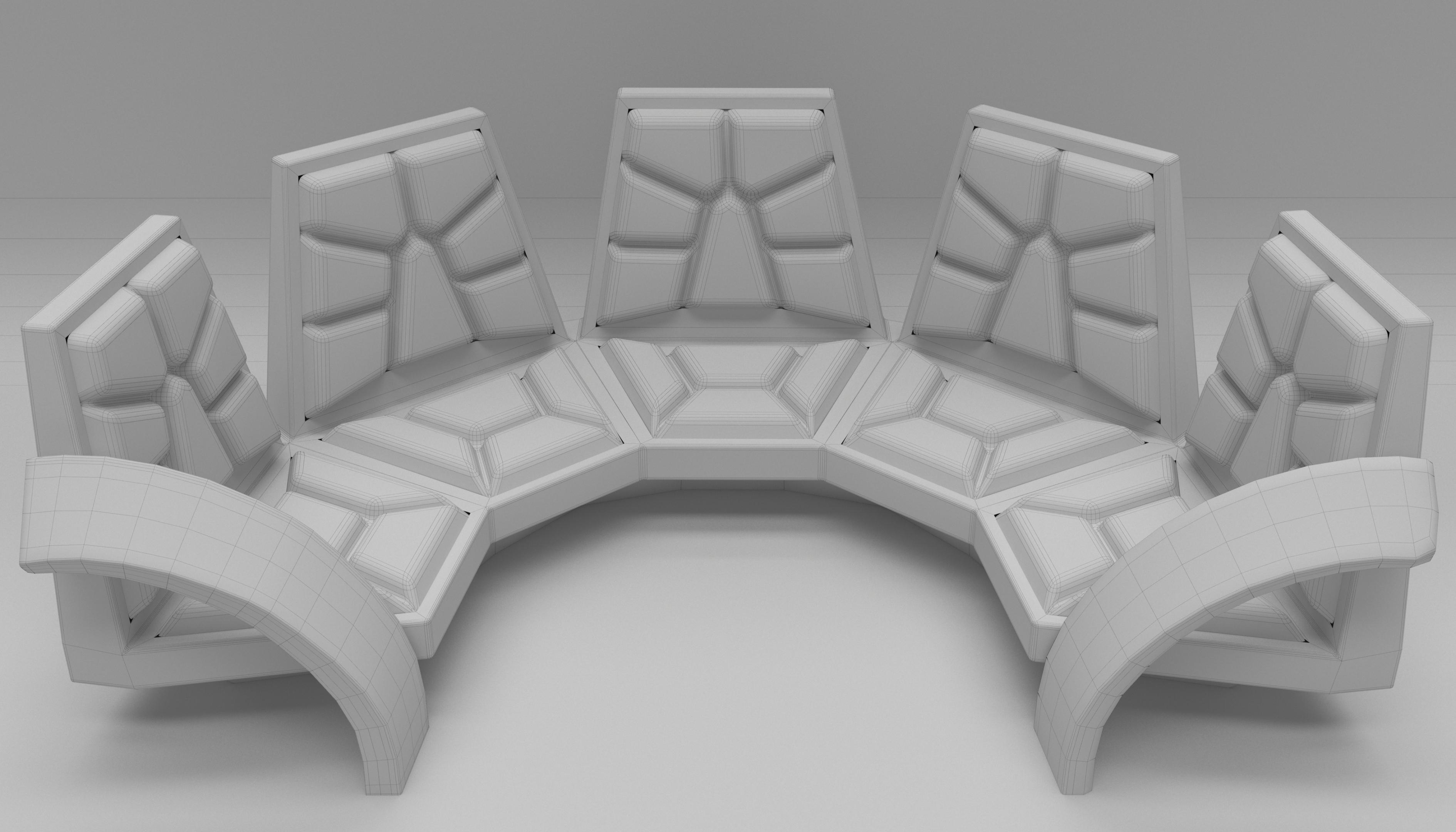 Диван полукруглый в 3d max corona render изображение