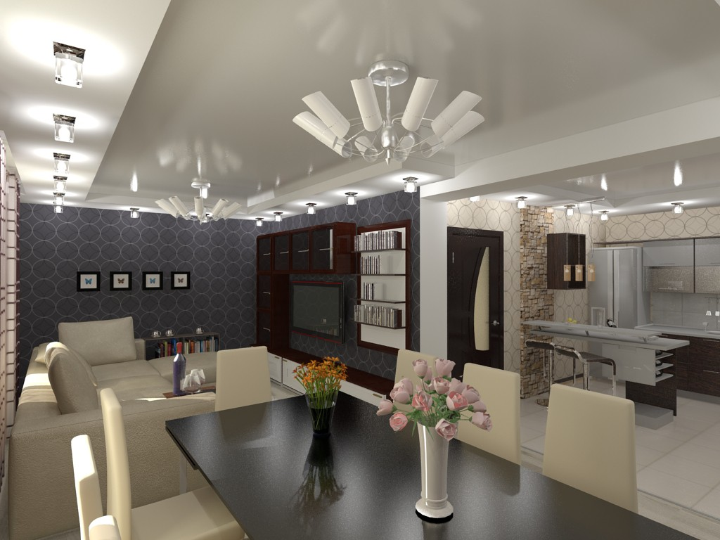 3d visualization of the project in the Living room (a house in Odessa) 3d max, render vray of grin-81