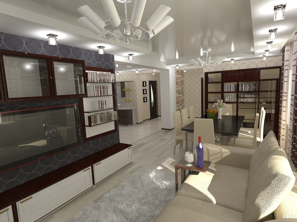 Гостинная (домик в одессе) в 3d max vray изображение